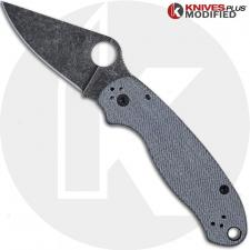 MODIFIED Spyderco Para 3 Knife with Acid Stonewash Blade + KP Worn Denim Micarta Scales + All Black Hardware