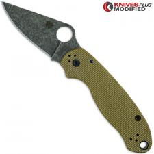 MODIFIED Spyderco Para 3 Knife with Acid Stonewash Blade + KP Green Micarta Scales + All Black Hardware