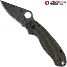 MODIFIED Spyderco Para 3 Knife with Acid Stonewash Blade + KP OD Green Micarta Scales + All Black Hardware