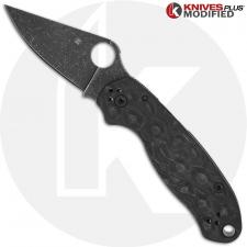 MODIFIED Spyderco Para 3 Knife with Acid Stonewash Blade + KP Damascus Pattern Carbon Fiber Scales + All Black Hardware