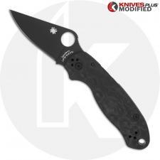 MODIFIED Spyderco Para 3 Black DLC Knife + KP Damascus Pattern Carbon Fiber Scales