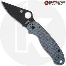 MODIFIED Spyderco Para 3 Black DLC Knife + KP Denim Micarta Scales