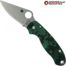 MODIFIED Spyderco Para 3 Knife - Green Digital Camo - Satin Blade - Rit Dyed Handle