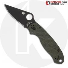 MODIFIED Spyderco Para 3 Black DLC Knife + KP OD Green Micarta Scales