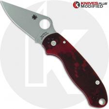 MODIFIED Spyderco Para 3 Knife - Red Digital Camo - Stonewashed Blade - Rit Dyed Handle
