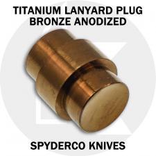 KP Custom Titanium Lanyard Plug for Spyderco Para Military 2 or Para 3 Knife - Bronze Anodized