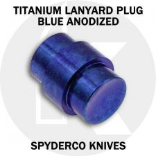 KP Custom Titanium Lanyard Plug for Spyderco Para Military 2 or Para 3 Knife - Blue Anodized