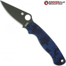 MODIFIED Spyderco Para Military 2 - Urban Digital Camo - DLC Blade - Rit Dyed Handle
