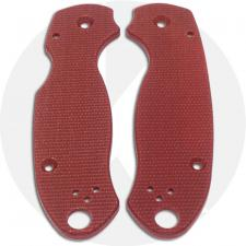 KP Custom Micarta Scales for Spyderco Para 3 Knife - Red Linen - Ambi - Tip Up