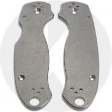KP Custom Titanium Scales for Spyderco Para 3 Knife - Stonewash Finish