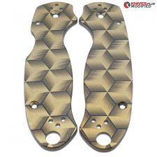 KP Custom Titanium Scales for Spyderco Para 3 Knife - Black Anodized Finish - Hexahedron Engraved