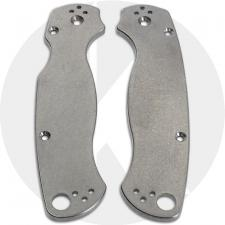 KP Custom Titanium Scales for Spyderco Para Military 2 Knife - Stonewash Finish