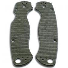 KP Custom Micarta Scales for Spyderco Para Military 2 Knife - OD Green Linen