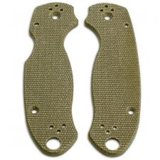 KP Custom Micarta Scales for Spyderco Para 3 Knife - Green Linen