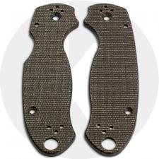 KP Custom Micarta Scales for Spyderco Para 3 Knife - Brown Linen