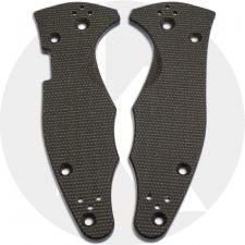KP Custom Micarta Scales for Spyderco Yojimbo 2 Knife - Dark Brown Linen