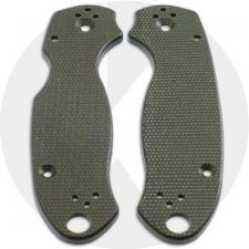 KP Custom Micarta Scales for Spyderco Para 3 Knife - OD Green Linen