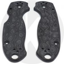 KP Custom Carbon Fiber Damascus Pattern Scales for Spyderco Para 3 Knife