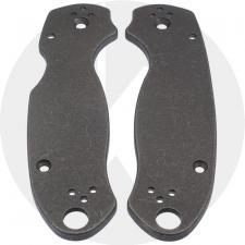 KP Custom Titanium Scales for Spyderco Para 3 Knife - Blasted + Stonewashed