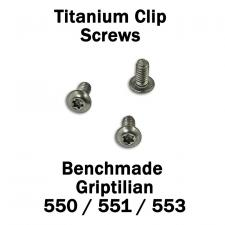 Titanium Replacement Clip Screws for Benchmade Griptilian Knife - 550, 551, 553 Models - Button Head - T6 - Set of 3