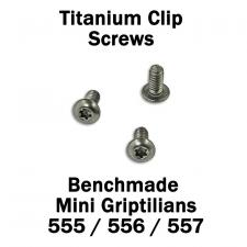 Titanium Replacement Clip Screws for Benchmade Mini Griptilian Knife - 555, 556, 557 Models - Button Head - T6 - Set of 3