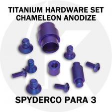 Titanium Hardware Replacement Screw Set for Spyderco Para 3 Knife - High Voltage Chameleon Anodize