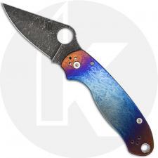 MODIFIED Spyderco Para 3 Knife with Acid Stonewash Blade + KP Super Nova Titanium Scales + All Black Hardware