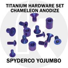 Titanium Hardware Replacement Screw Set for Spyderco YoJUMBO Knife - High Voltage Chameleon Anodize