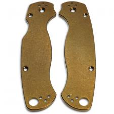 KP Custom Titanium Scales for Spyderco Para Military 2 Knife - Stonewash Finish - Bronze Anodize