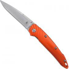Kizer Sliver Ki4419A1 - Stonewash Drop Point - Sunburst Orange Aluminum - Liner Lock Folder