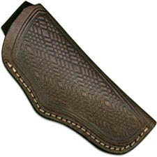 Generic Folding Hunter Sheath - Open Top - Brown Leather with Belt Loop - Fits Boker Folding Hunter