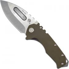 Medford Praetorian G Knife - Tumbled Drop Point - OD Green G10 and Tumbled Titanium - Frame Lock Folder - USA Made