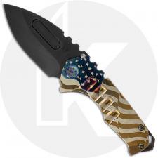 Medford Praetorian Genesis T - Tumbled PVD S35VN Drop Point - Bronze Ti American Flag Engraved Handle - Frame Lock Folder - USA