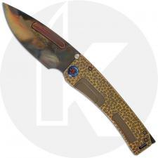 Medford Marauder-H Knife - Vulcan S35VN Drop Point - Gold / Bronze Hammered Titanium - Frame Lock Folder - USA Made