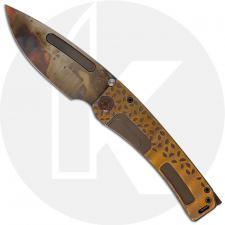Medford Marauder-H Knife - Vulcan CPM 3V Drop Point - Bead Blast Bronze Falling Leaf Sculpted Handle - Frame Lock Folder - USA M