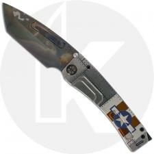 Medford Marauder-H Knife - Vulcan CPM 3V Tanto - Tumbled Titanium with Military Theme - Frame Lock Folder - USA Made