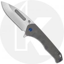 Medford Praetorian Slim Flipper - Tumbled S35VN Drop Point - Tumbled Titanium Handle - Frame Lock Folder - USA Made
