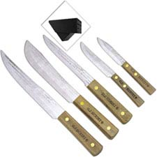Old Hickory Block Set 7220 Five Carbon Steel Kitchen Knives with Hardwood Block USA Made