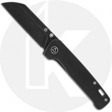 QSP Penguin Knife QS130-O - Black Stonewash 154CM Sheepfoot - Black Stonewash Titanium - Frame Lock Folder