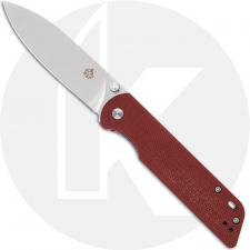 QSP Parrot Knife QS102-E - Satin D2 Spear Point - Red Linen Micarta - Liner Lock Folder