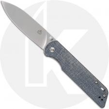 QSP Parrot Knife QS102-F - Satin D2 Spear Point - Denim Linen Micarta - Liner Lock Folder