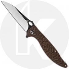 QSP Locust Knife QS117-A - Black / Satin 154CM Wharncliffe - Brown Micarta - Liner Lock Flipper Folder