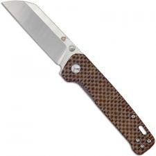 QSP Penguin Knife QS130-A - 2 Tone Satin D2 Sheepfoot - Linen Micarta - Liner Lock Folder