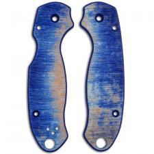 RC BladeWorks Custom Micarta Scales for Spyderco Para 3 Knife - Blue / Natural - USA Made
