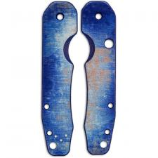RC BladeWorks Custom Micarta Scales for Spyderco Smock Knife - Blue / Natural - USA Made