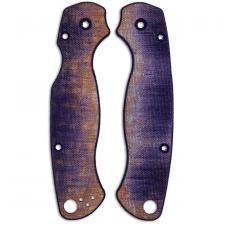RC BladeWorks Custom Micarta Scales for Spyderco Para Military 2 Knife - Blue / Natural - USA Made