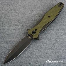 Hinderer Knives Maximus Dagger Knife - Battle Black DLC - Black Out Hardware - OD Green G10 Handle