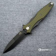 Hinderer Knives Maximus Bayonet Grind Knife - Battle Black DLC - OD Green G10 Handle