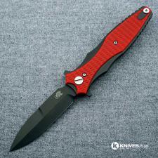 Hinderer Knives Maximus Bayonet Grind Knife - Black DLC - Red G10 Handle