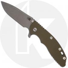 Hinderer Knives XM-18 3.5 Inch Knife - Spear Point - Working Finish - 20CV - Tri Way Pivot - OD Green G-10 / Battle Bronze Ti